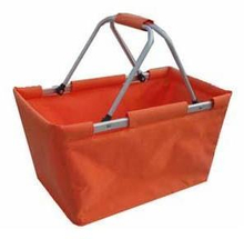 Simple design fabric PVC coated nice quality storage fruit shopping basket for custom any color