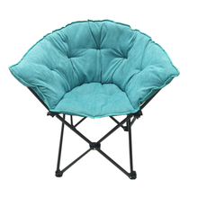 Folding Saucer Moon Chair Short Plush Faux Fur Padded Club Seat